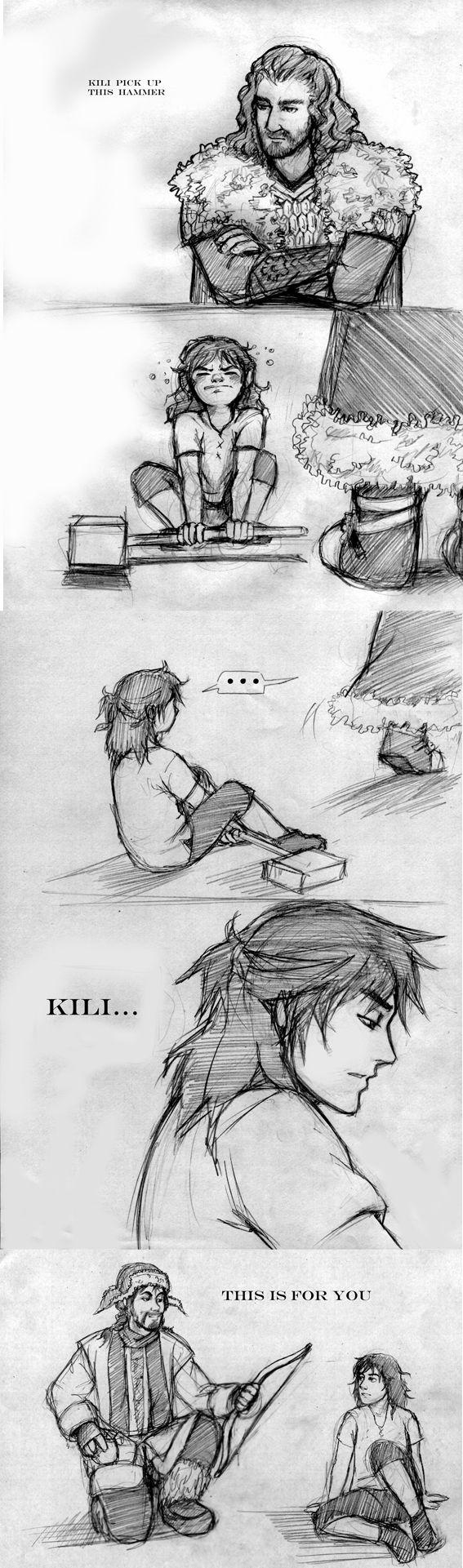 Yet another sad Kili pin. These actually make me sooooo sad. Kili is one of the best warriors among the dwarves!!! Thank you, Bofur for helping Kili! GO KILI :D