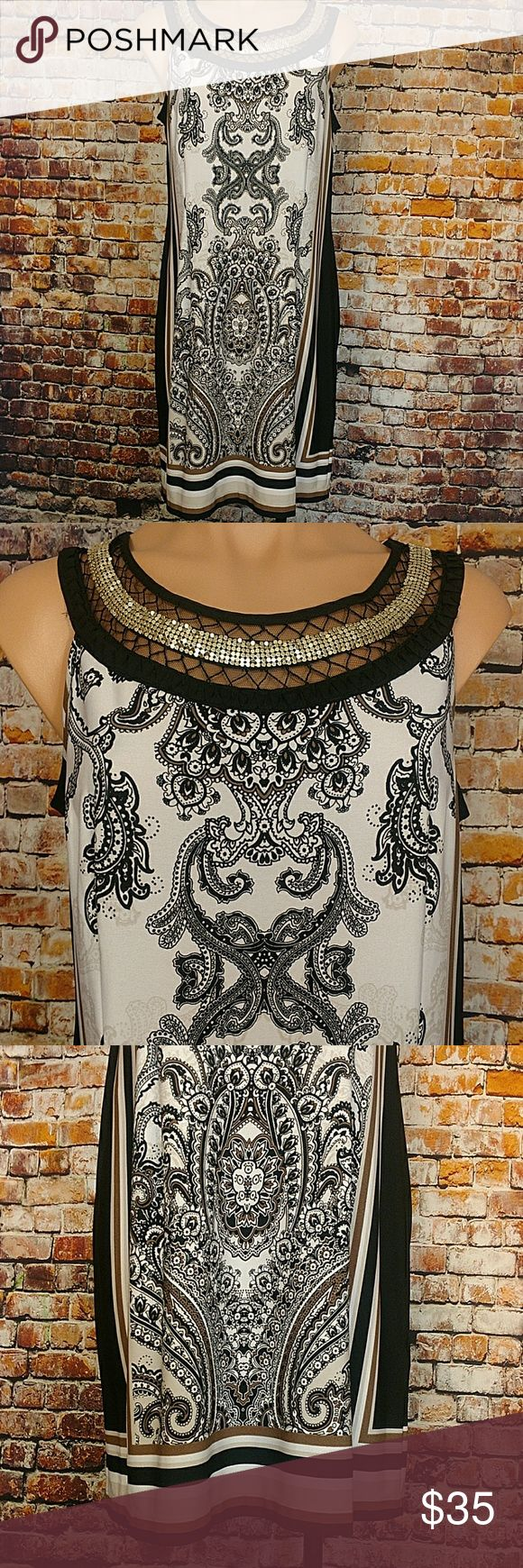 """Day to Dinner Dress Bordered front print with black sides on this silver metallic and mesh embellished neckline dress. Petite Mefium 95% polyester 5% spandex. 40"""" chest,  36"""" long. White black taupe brown cream silver Dresses"""