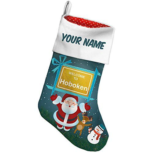 Christmas Stocking Yellow Road Sign Welcome To Hoboken Xmas night NEONBLOND * You can get additional details at the image link. #XmasStockingsHolders