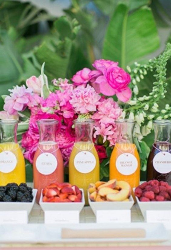 tropical bridal shower drinks / http://www.deerpearlflowers.com/tropical-bridal-shower-ideas/
