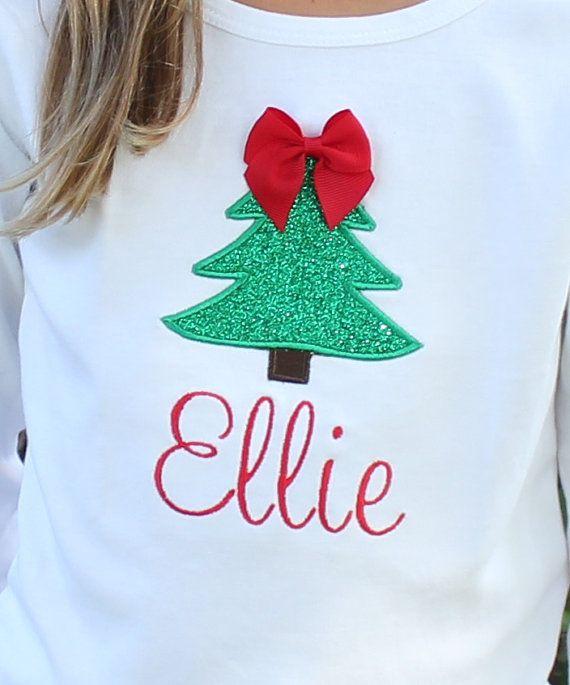 Girls Christmas Shirt - Girls Christmas Tree Shirt - Girls Christmas ... 63ef06299393