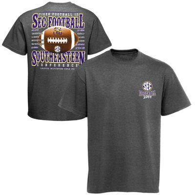 """LSU Tigers 2014 Football Schedule T-Shirt - Charcoal Get ready for the upcoming Tigers season in this 2014 Football Schedule T-shirt. It features """"SEC Football 2014"""" lettering surrounding a team logo on the front and a football graphic with game dates on the back. Pack your coolers and grab your friends – LSU football is heading your way!"""