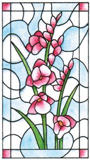 INR-050-2 Floral Stained Glass Cling Stamp