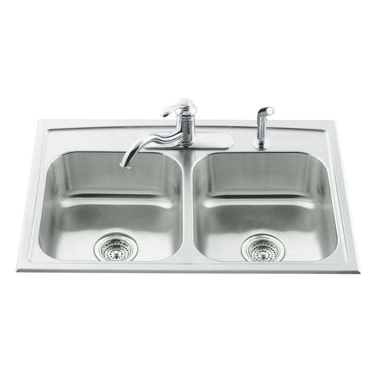Kohler Co. 3346-3-NA Toccata 19-Gauge Drop-In Stainless Steel Kitchen Sink