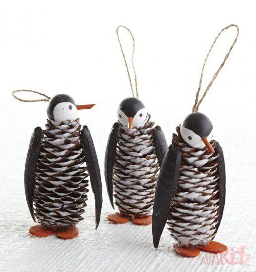 Cute Pine Cone Penguin Ornaments-No Instructions