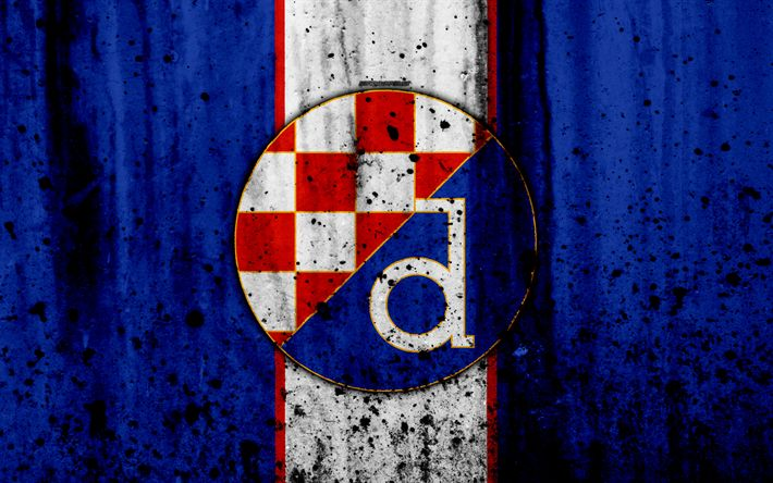 Download wallpapers 4k, FC Dinamo Zagreb, grunge, HNL, art, soccer, football club, Croatia, GNK Dinamo Zagreb, logo, stone texture, Dinamo Zagreb FC