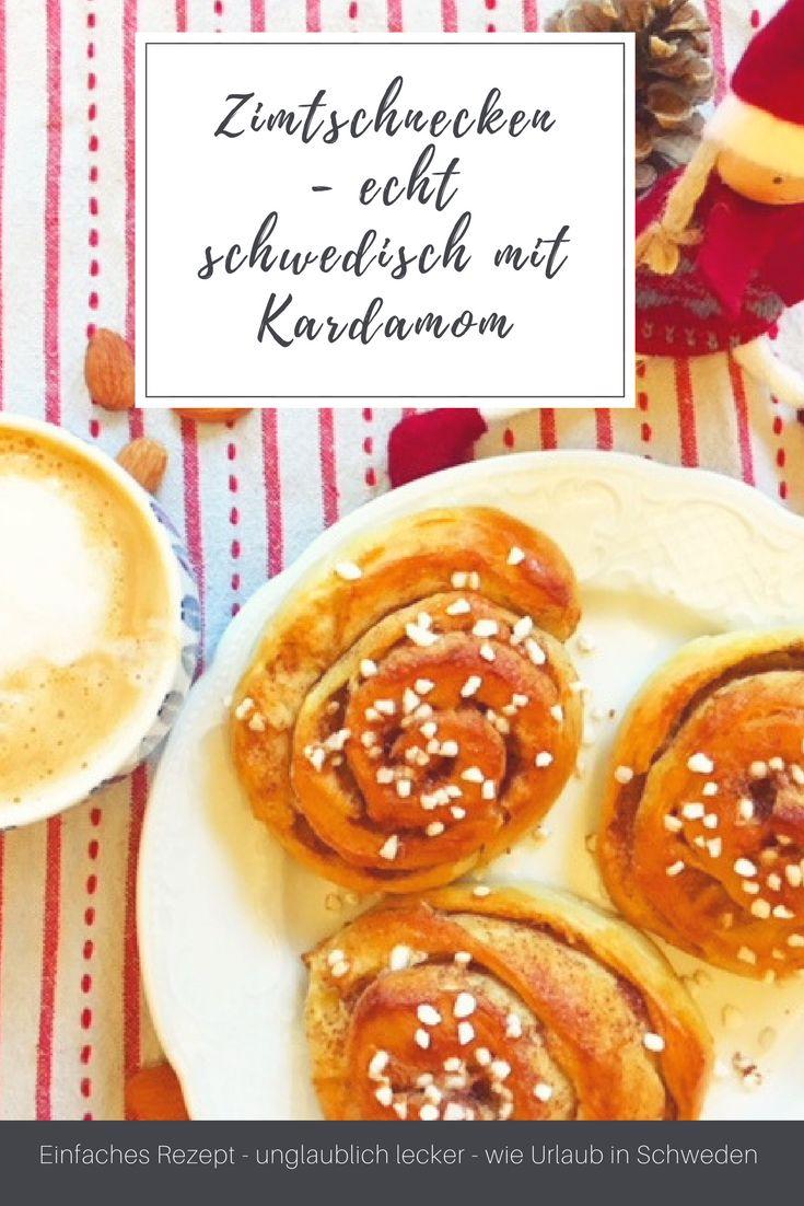 Schmeckt nicht nur zu Weihnachten: Original schwedische Zimtschnecken mit Kardamom. Kanelbullar wie in Skandinavien. Schnelles Rezept mit Hefeteig. #backen #weihnachten