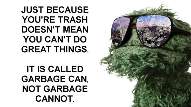 """...It is called garbage can, not garbage cannot"" - Oscar the Grouch, Sesame Street [1600 x 899] : QuotesPorn"