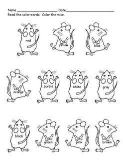 Cute freebie! Mouse Paint Color Words printable