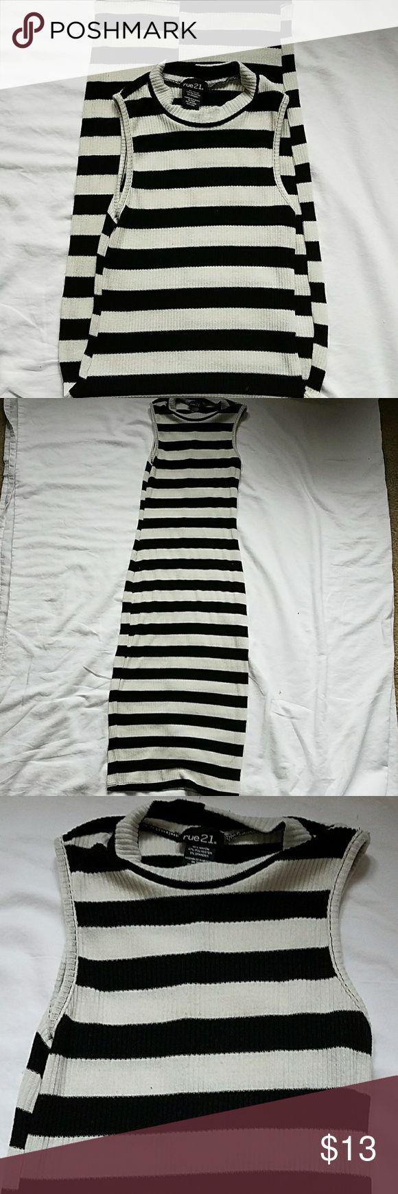 Striped body con midi dress Black and white stripes, high neck, midi length, white is very faded Rue 21 Dresses Midi
