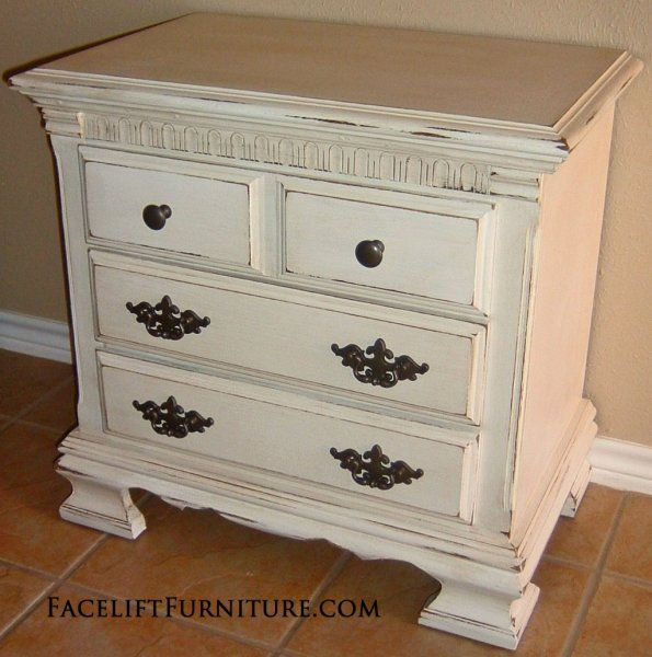 How To Antique White Furniture. Distressed Antiqued White Nightstand With  Tea Stained From Facelift Antique