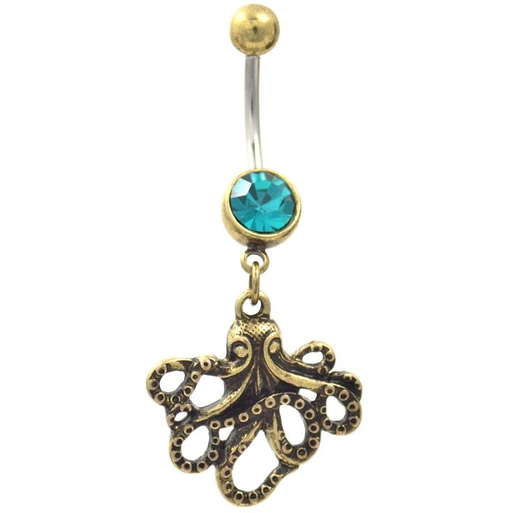 BodyDazz.com - Brass Plated Octopus Teal CZ Belly Ring,