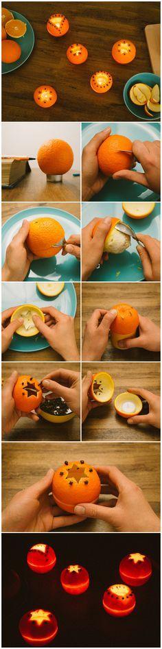 I portacandele fatti con le bucce d'arance sono bellissimi e porteranno nella vostra casa un dolce profumo di #Natale :)
