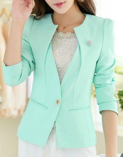 Stylish V Neck Long Sleeve One Button Slimming Blazer For Women