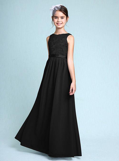 4f72ec3a0 Sheath / Column Bateau Neck Floor Length Chiffon / Lace Junior Bridesmaid  Dress with Lace by