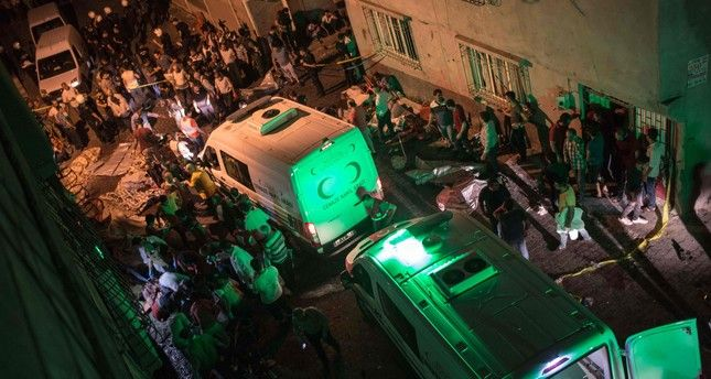 Suspected Daesh terror bombing kills 54, injures 94 at wedding in Turkey's southern Gaziantep.. Ambulances arrive at site of an explosion on August 20, 2016 in Gaziantep following a late night militant attack on a wedding party in southeastern Turkey. (AFP Photo)