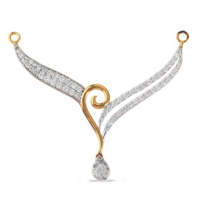Diamond Mangalsutra Designs India | 04 Cts. 18k Yellow Gold Double Row Diamond Mangalsutra Necklace