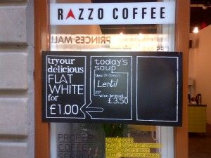 Great coffee and high quality soup from Union of Genius at Razzo Coffee on Waverley Steps