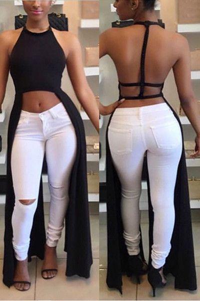 Roaso Lace-up Backless Black Ankle Length Dress - ROASO