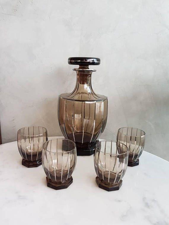 Mira este artículo en mi tienda de Etsy: https://www.etsy.com/es/listing/573623147/art-deco-decanter-liquoir-set-carafe-and