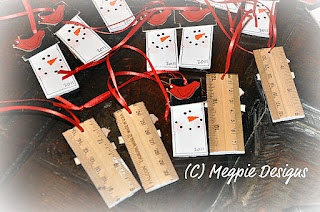 ruler snowmen ornaments
