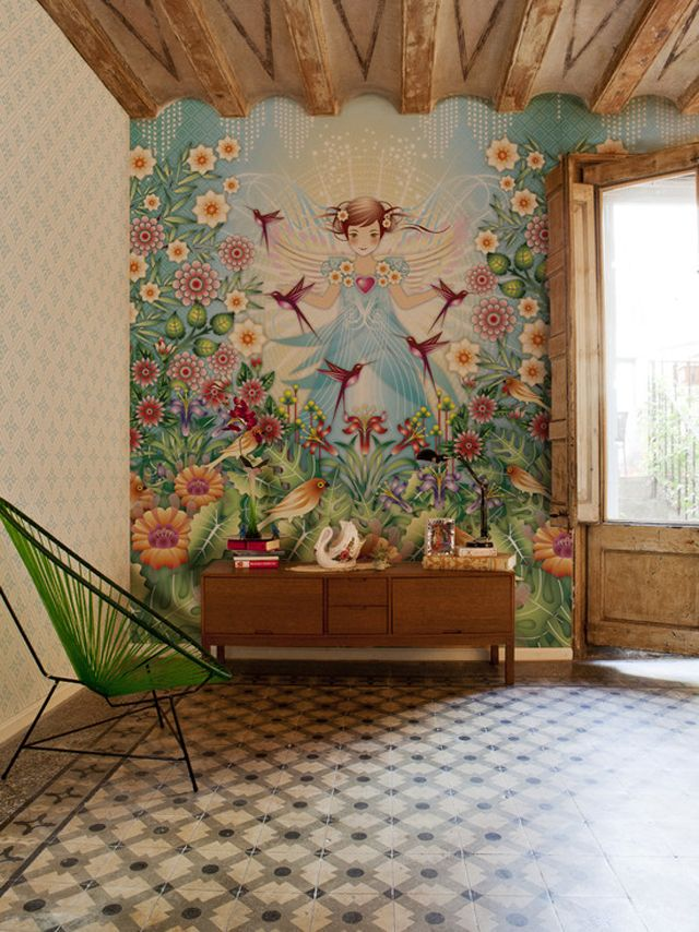 Rustic living room with artistic wallpaper design