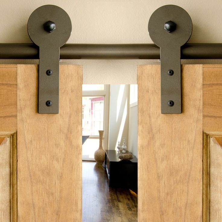 Bronze homer hanger double rolling door hardware kit for Pantry barn door hardware