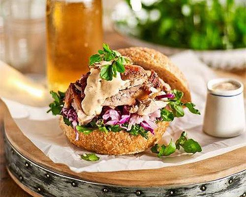 Pulled pork rolls with coleslaw and chipotle dressing