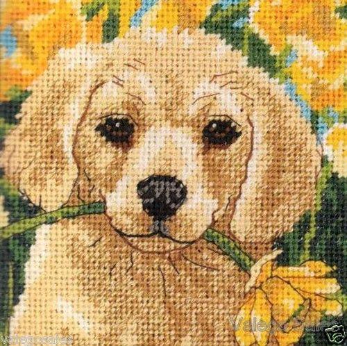Dimensions #needlepoint #PUPPY MISCHIEF ♥ #ebay #sale #animals #pets #portrait #art #gift #home #interior #walldecor #DIY #project #handcraft #handmade #needlework #stitching #craft #create