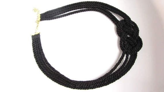 Sailor Knot  Bib Necklace Silky Black Rope Multi Strand Celtic