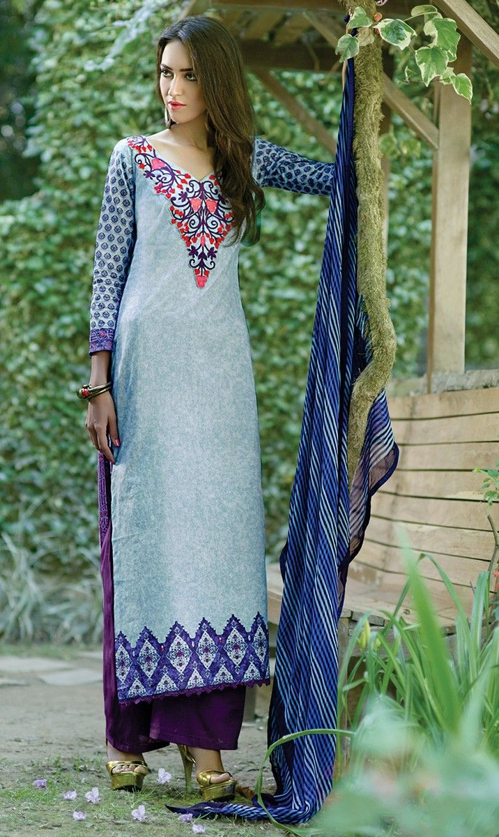 Cotton Patch Work Blue Printed Unstitched Straight Suit - SL522
