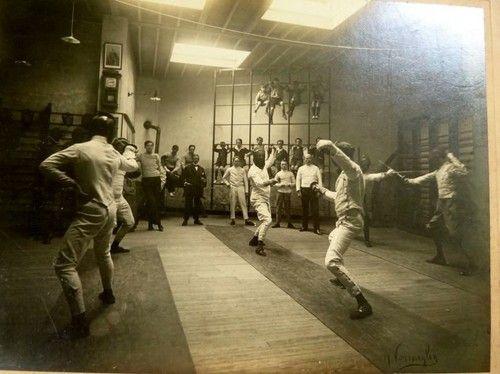 "RARE Belgian 1880 Photograph Fencing Club Practice Signed Vermeylen 14x12"" Orign | eBay"
