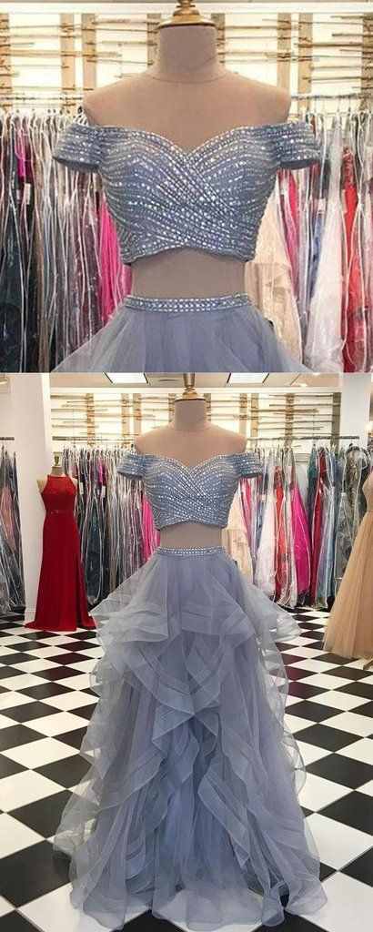 Gray tulle two pieces sweetheart neck silver sequins long prom dress, long ruffles evening dress with sleeves #prom #dress #promdress #promdresses