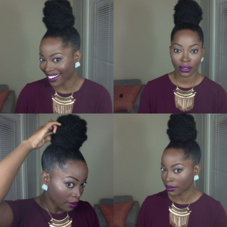 Faux bun: natural hair protective style @msnaturallymary