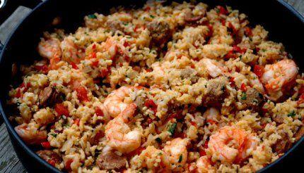 Rice with chorizo and shrimp {Arroz con chorizo y camarones}