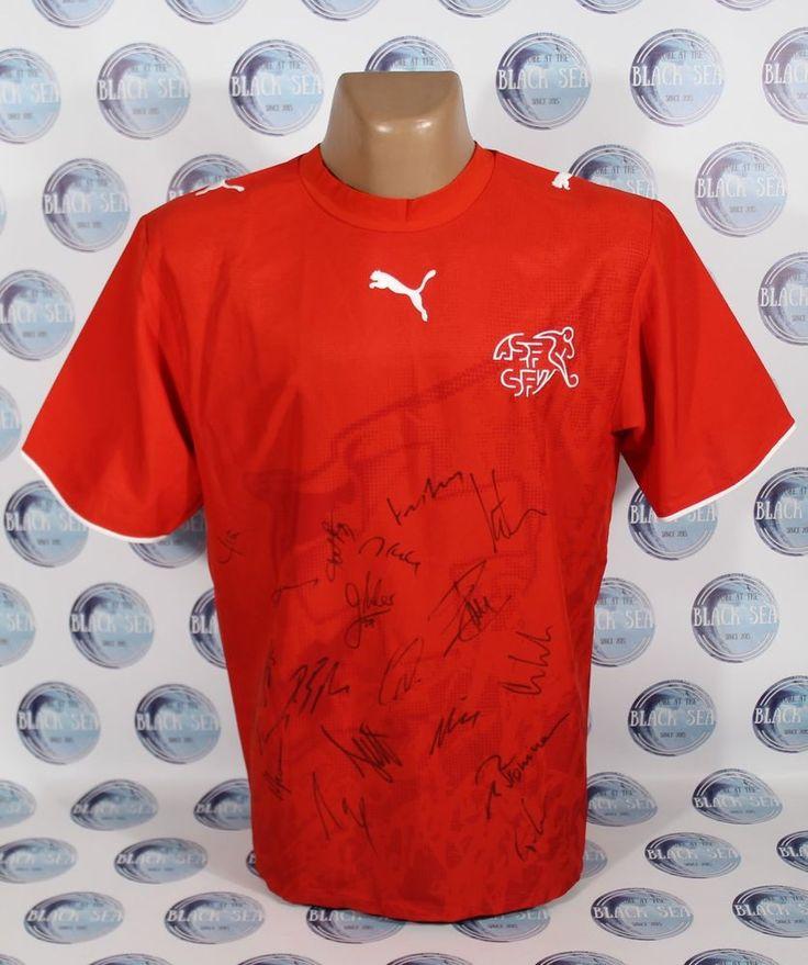 SWITZERLAND NATIONAL TEAM 2006 2007 SIGNED FOOTBALL SOCCER SHIRT JERSEY TRIKOT L #PUMA #Switzerland