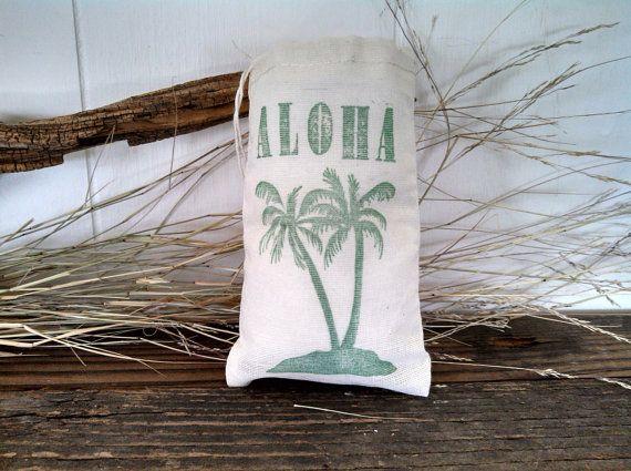 Palme Aloha begünstigen Tasche nautische Strand Hochzeit Sommerfest gefallen Geburtstag Musselin Geschenk-Tasche gestempelt 10er Set