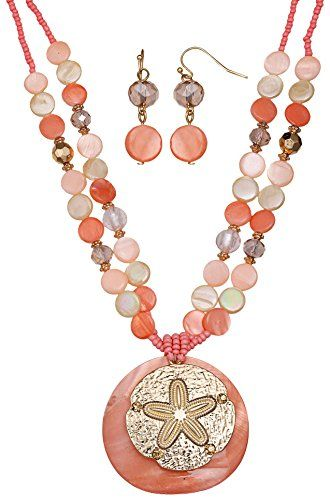 Jules B Gold Tone Sand Dollar Necklace Set One Size Peach/pink/gold tone Jules B