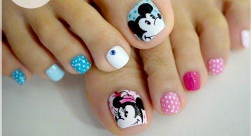 diseno unas pies, toes nail design Minnie Mouse
