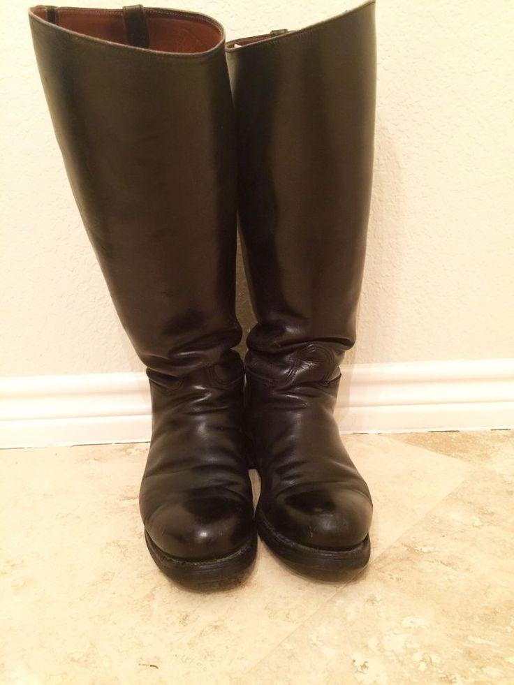 Dehner Black Leather Riding Patrol Boots Us Size 10 5 11