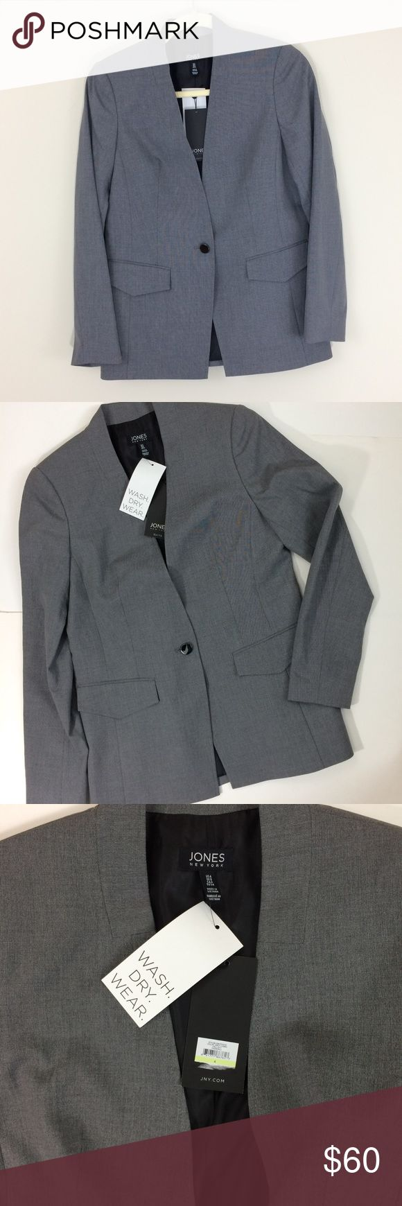 🆕Jones New York Gray Suit Jacket Wash. Dry. Wear. No dry cleaners bills! Great suit jacket with 1 button closure. Fully lined. Very versatile. Wear it with jeans for a casual look or pair it up with a skirt or dress pants for a more professional look. Great  staple to add to your closet. Have a question leave it in the comments. Jones New York Jackets & Coats