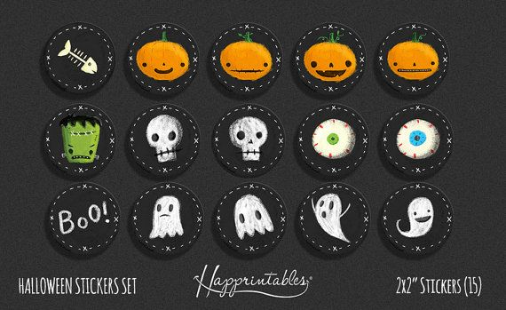 Welcome to Happrintables! These are 15 printable round tags 2x2 each for Halloween! -Print on 8.5 x 11 adhesive paper. -Cut with scissor. -Peel