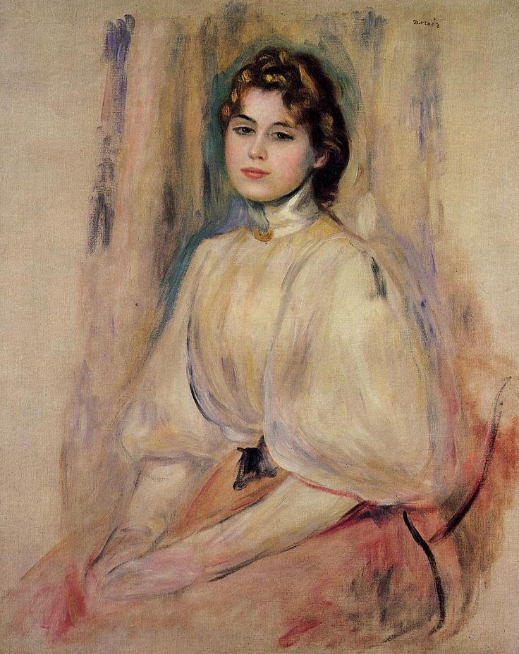 Pierre-Auguste Renoir, 'Seated Young Woman' (1890) || French Impressionist (1841-1919)