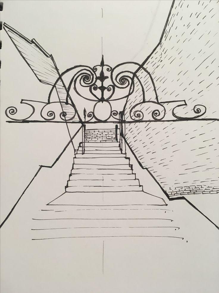 Entrance to Barnes railway bridge - fine liner | Sketch ...