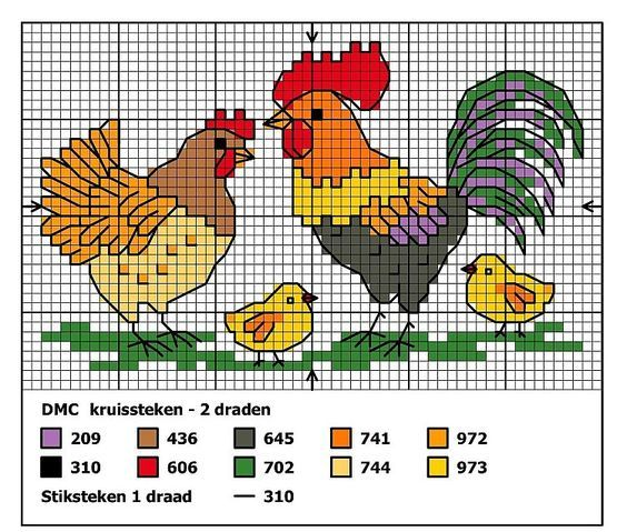 Rooster Cross Stitch Patterns   Chickens and Roosters Cross stitch: