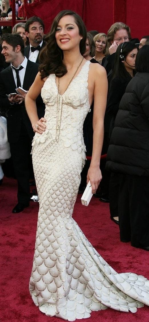 "Marion Cotillard  in Gaultier at the 2008 Oscars. She won Best Actress for ""La Vie en Rose""."