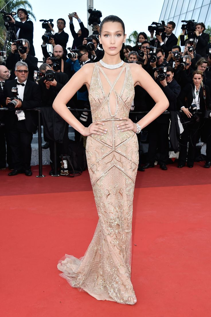Bella Hadid in Cavalli Couture at Cafe Society Premiere at 2016 Cannes Film Festival   Fashnberry