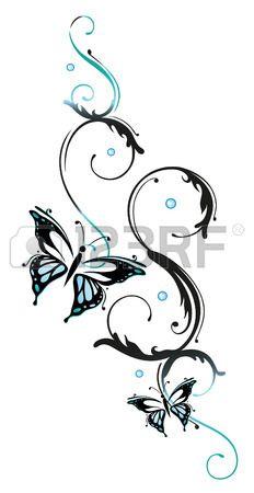 Fiori e farfalle blu, elemento floreale