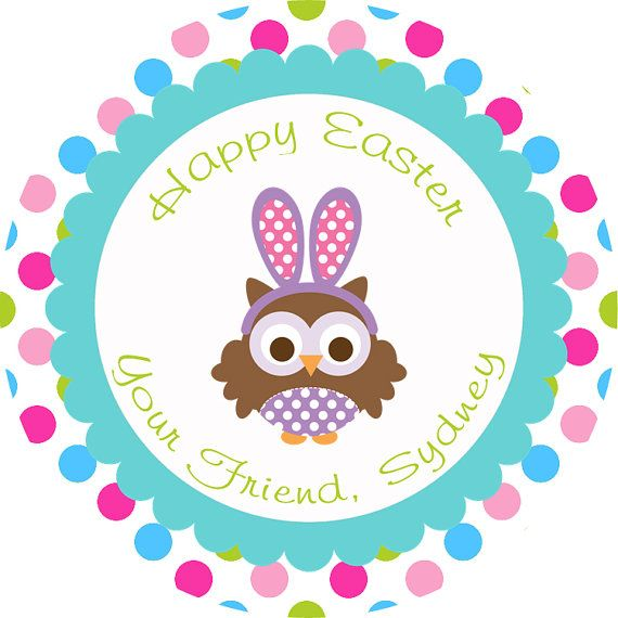48 best happy spring images on pinterest easter bunny adorable easter bunny owl thank you gift tag diy printable personalized easter decorations negle Images