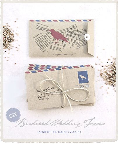 To (ahem) remind your wedding guests of your special day, mail them the bird seed they will toss. Esp in this cute diy bird envelope. Love notes on the back of it too. Grand idea!